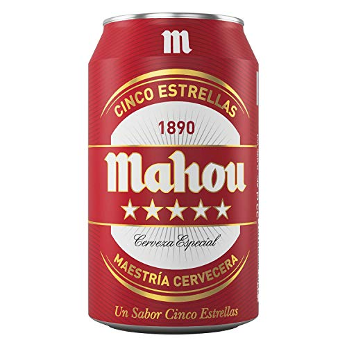 MAHOU CINCO ESTRELLAS 5 Sterne Bier Dose DPG Bierpaket (EINWEG 36x33cl) (Pack 36 Dosen) Beer, Sor, Ol, Cerveza, Piwo, Olut, Biere, пиво, bier geschenke, biere der welt, san miguel bier, bier set