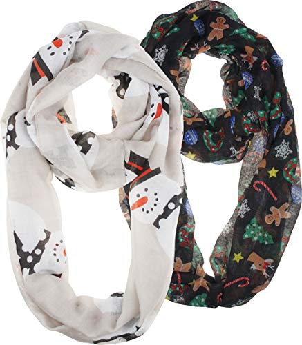 VIVIAN & VINCENT 2 Pack of Soft Light Weight Elegant Sheer Infinity Scarf (Gift Idea) Christmas Black C2 & White Snowman C7