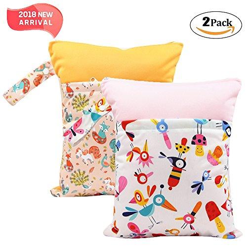 2 Pack Baby humide et chiffon sec Sacs à langer étanche réutilisable avec deux poches à fermeture éclair, 11,8 x 14,6, 2 Pack, fox&bird, 2