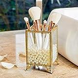 PuTwo Support de pinceaux de maquillage en verre et laiton vintage Organiseur de pinceaux de maquillage fait main avec perles blanches pour commode et comptoir – Doré