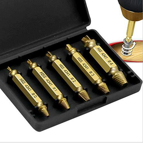 Horypt Screw Extractor Set, Screw Extractor Kit 5 piezas Screw Extractor Screw Extractor para quitar tornillos dañados o dañados, quitar fácilmente tornillos pelados o dañados