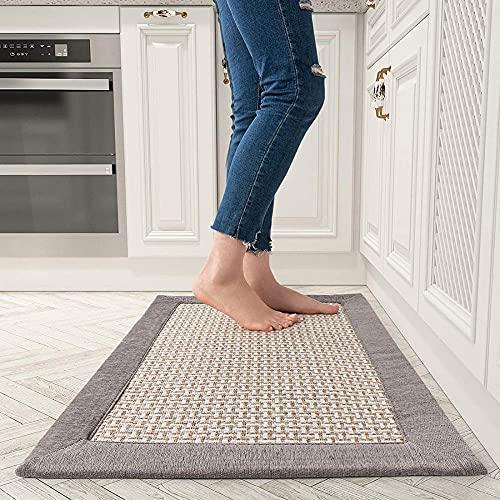 farsky Teppich Läufer Flur Küchen, rutschfest Waschbar Küchenteppich Baumwolle und Leinen Fussmatten 50*80cm Grau