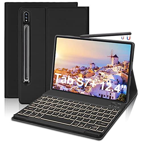 """FOGARI Funda con Teclado Retroiluminado para Samsung Galaxy Tab S7 Plus 12.4""""2020(SM-T970/T975/T976/T978),Funda Protectora con Teclado Desmontable con Retroiluminación de 7 Colores para Galaxy Tab S7+"""