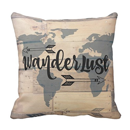 MAP Explore Wanderlust - Funda de almohada decorativa de madera rústica para decoración del hogar (45,7 x 45,7 cm)