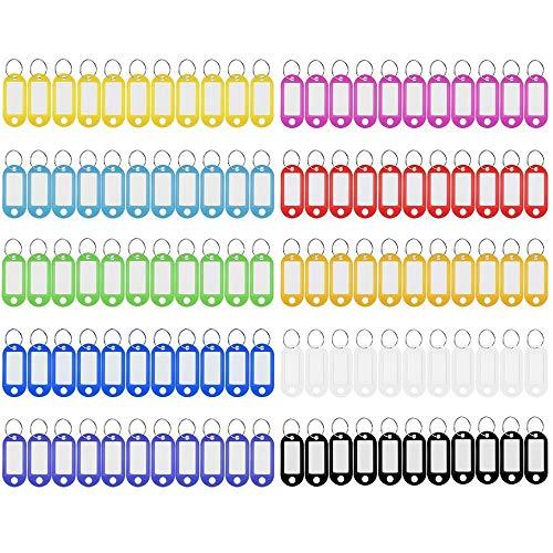 Etiquetas de Plástico Paquete de 110 Etiquetas de Llavero Etiquetas, Etiquetas de Identificación de Colores Surtidos Etiquetas de Equipaje Con Anillo Dividido Lable Ventana, 10 Colores