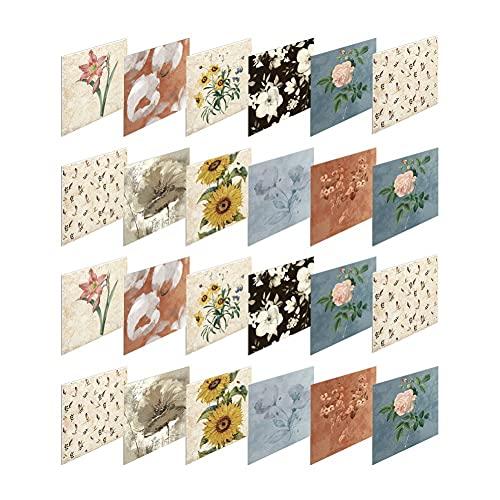 Homemust Pegatinas de Azulejos de 24 unids, Autoadhesivo en la baldosa Peel Stick Wallpaper Impermeable Respuberable Pláspago para Sala de Estar Cocina