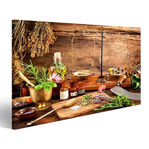 Bild Bilder auf Leinwand Alte Naturheilkunde, Kräuter, Fläschchen und Schuppen auf Holzuntergrund Wandbild, Poster, Leinwandbild QNC