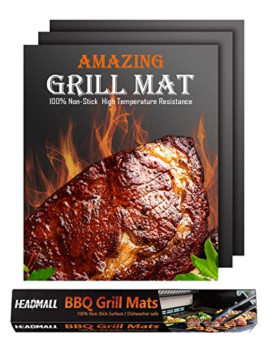 HEADMALL Grill Mat 3 Pcs, 100% Non-Stick BBQ Mats, Easy to Clean, for Barbecue Grilling & Baking, Electric Grill Gas Charcoal BBQ - 15.75 x 13 inch