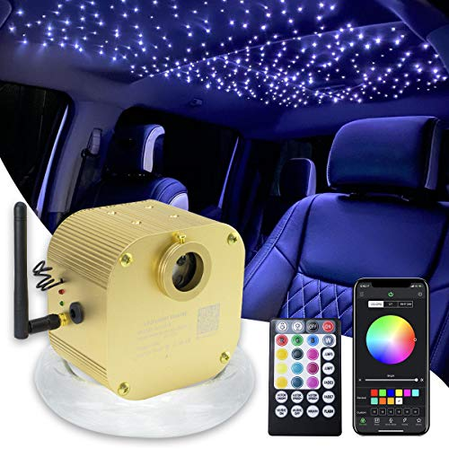 16W Bluetooth Twinkle Fiber Optic Star Ceiling Lights Lamp Kit, LED RGBW Engine Driver APP/Remote Control (450pcs0.03in9.8ft)