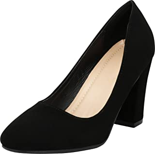 Cambridge Select Women's Classic Slip-On Closed Toe Chunky Block Heel Pump