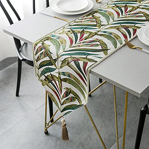 Camino de mesa Camino de cama de tela de chenilla con hojas de color teñido en hilo con borlas grandes, adecuado para el hogar, fiestas interiores al aire libre, decoración de mesa ( Size : 33X200cm )