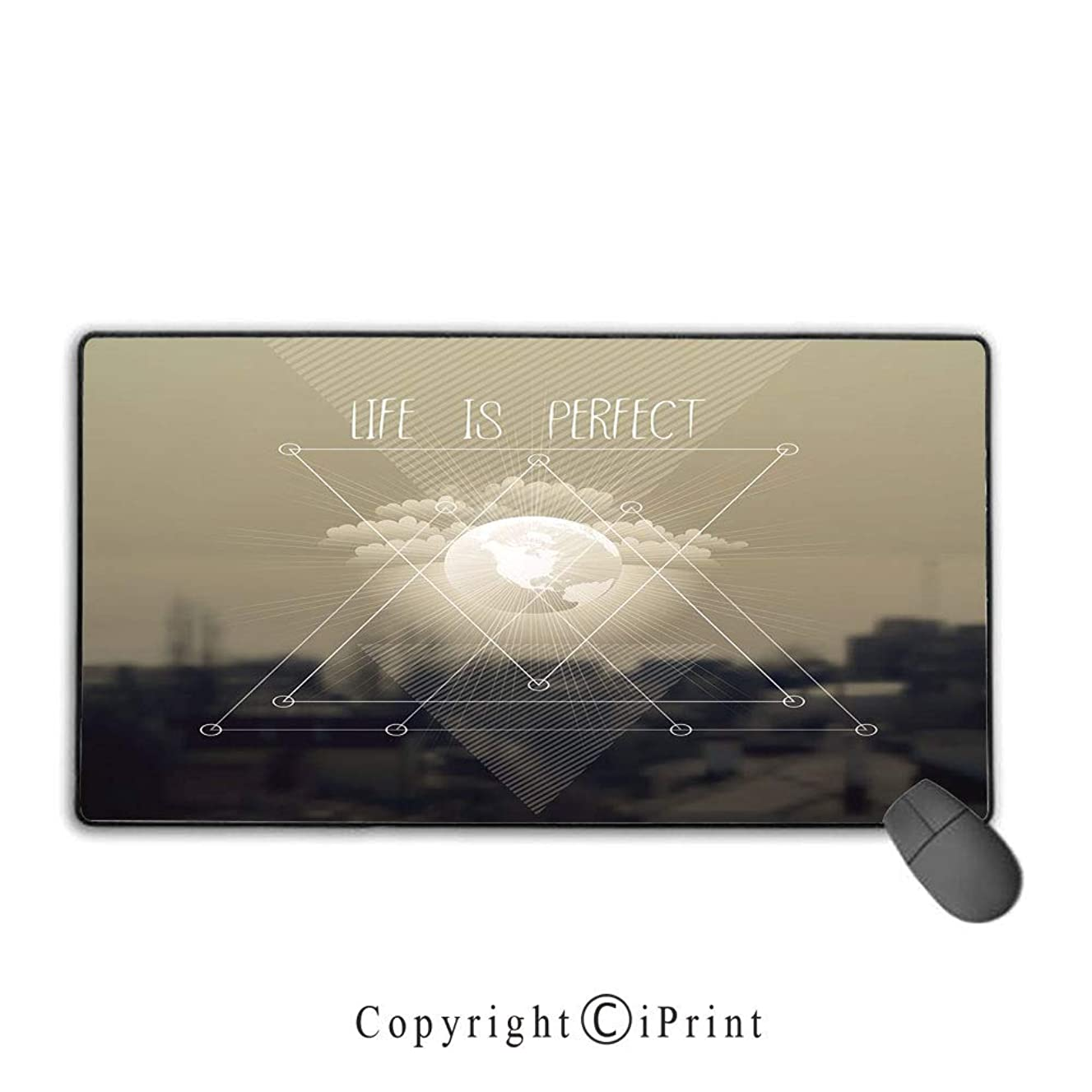 Mouse pad with Lock,Indie,Life is Perfect Inspirational Geometric Triangles Cityscape Clouds Earth,Tan Dark Taupe White,Suitable for laptops, Computers, PCs, Keyboards,9.8