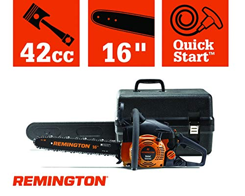 Remington 41AY4216983 RM4216CS 42cc Full Crank 2-Cycle Gas Powered Chainsaw 16-Inch Bar, Automatic Oiler, and Low Kickback Chain, 42cc-16-Inch, Orange