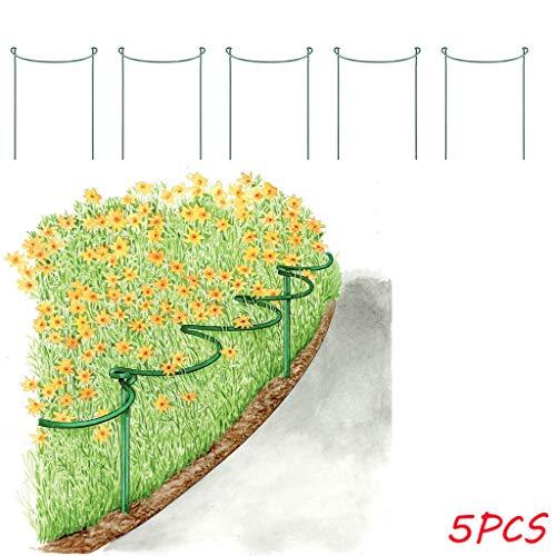 Metall-Garten Stützen | 5 Stück | Halbrund Pflanzenstützen Grün | Staudenhalter Blumenhalter Rankengewächs Pflanzenstütze Blumenstütze Staudenstütze Rankhilfe Strauchhalter Rosenstütze (L: 25x40cm)