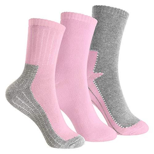 Footstar Kinder Frottee-Socken mit Motiv (3 Paar), Warme Socken mit Thermoeffekt - Rosa 23-26