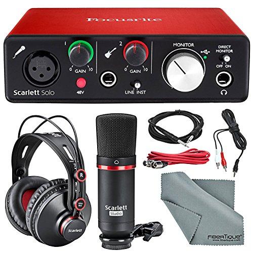 Focusrite Scarlett Solo Studio Kit Bundle – Contains Scarlett Solo USB Audio Interface + CM25 Condenser Microphone + HP60 Studio Headphones + Cables + Fibertique Cloth