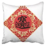 Cojín Decorativo Año Traducción de Caracteres Chinos Puede Que la Riqueza y la Riqueza se dibujen a su Manera Nudo de caligrafía Cojín de Asia