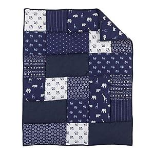 NoJo Serendipity – Indigo Animal 100% Cotton Comforter, Navy, Light Blue, Grey, Ivory