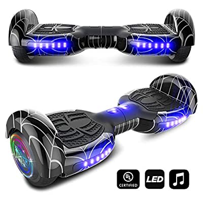 cho Colorful Wheels Series Hoverboard Safety Certified Hover Board Electric Scooter with Built in Speaker Smart Self Balancing Wheels (Black)