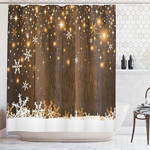 ABAKUHAUS Weihnachten Duschvorhang, Holz & Schneeflocken, Waserdichter Stoff mit 12 Haken Set Dekorativer Farbfest Bakterie Resistet, 175 x 200 cm, Braun Weiß