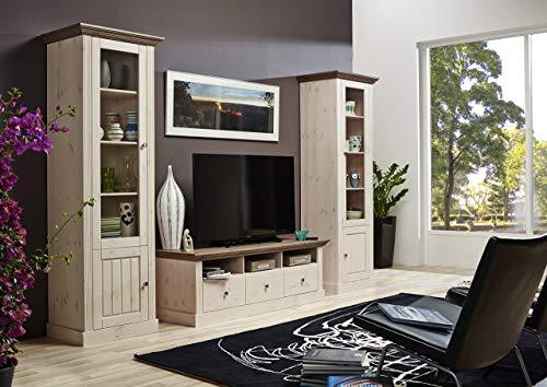 Steens 7317001269001F Wohnwand Monaco, 190 x 271 x 56, kiefer massiv, weiß / grau - 2