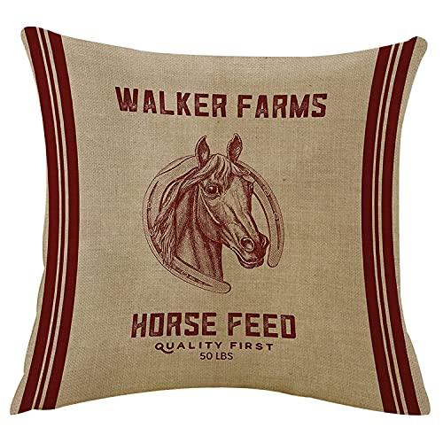 WangSiwe Wurf Kissenbezug Abdeckung Walker Farms Pferd Futter Sack mit Reißverschluss Dekor Quadrat Kissenabdeckungen Kissenbezug Couch Sofa Bett 18x18 Zoll