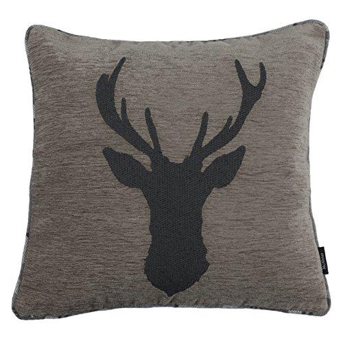McAlister Textiles Stag | Hirsch-Motiv Kissen inkl. Füllung 40cm x 40cm in Dunkelgrau | Rückseite Tartan kariert | Deko Kissen für Sofa, Couch, Sessel
