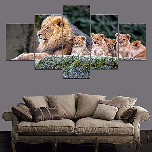 cuadro en lienzo impresión de 5 piezas - Enmarcado y listo para colgar Animal bebé león grande 150x80cm