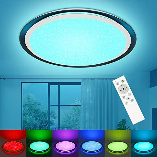 Led Deckenleuchte Dimmbar RGB Farbwechsel mit Fernbedienung, 24W 2000LM, OPPEARL Sternenhimmel Deckenlampe Für Wohnzimmer Schlafzimmer Büro Esszimmer Küche Balkon Φ46cm