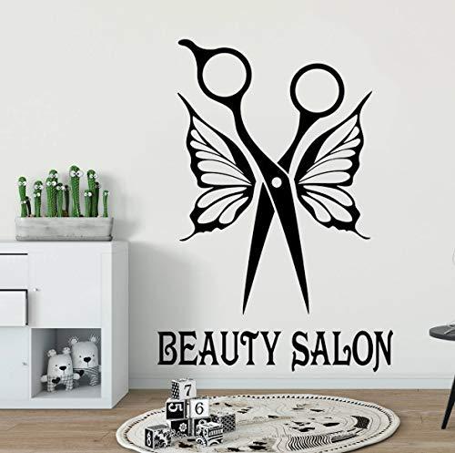 Ajcwhml Calcomanía de Pared para salón de Belleza, Pegatinas para peluquería, diseño de Interiores para el hogar, murales de Arte para Pared, calcomanías para Ventanas, Pegatinas extraíble 79x112cm