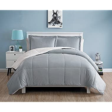 VCNY Home Queen Size Comforter Set in Grey Cozy Mink-FeelSherpa Lined 3 Pc Set w/2 Shams
