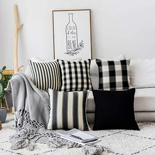 Home Brilliant Halloween Decorations Pillows Covers Set Black and White Throw Pillow Covers Textured Linen Cushion Covers for Sofa Solid Stripes Checker Plaid, Set of 5, 18 x18 inches (45cm)