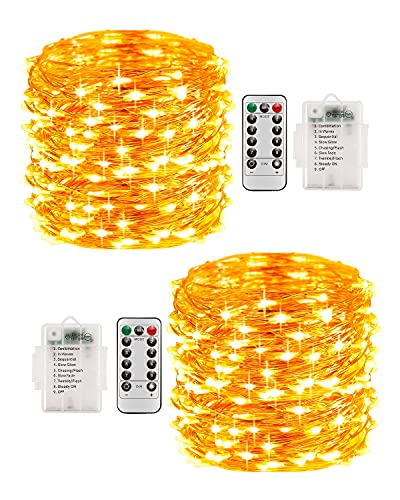 Lichterkette Außen Batterie, 2er 10M 100 Micro LED Lichterkette Kupferdraht mit Fernbedienung, Wasserdichte IP68 mit 8 Modi und Timer für Balkon Weihnachten Innen Aussen Dekoration, Warmweiß