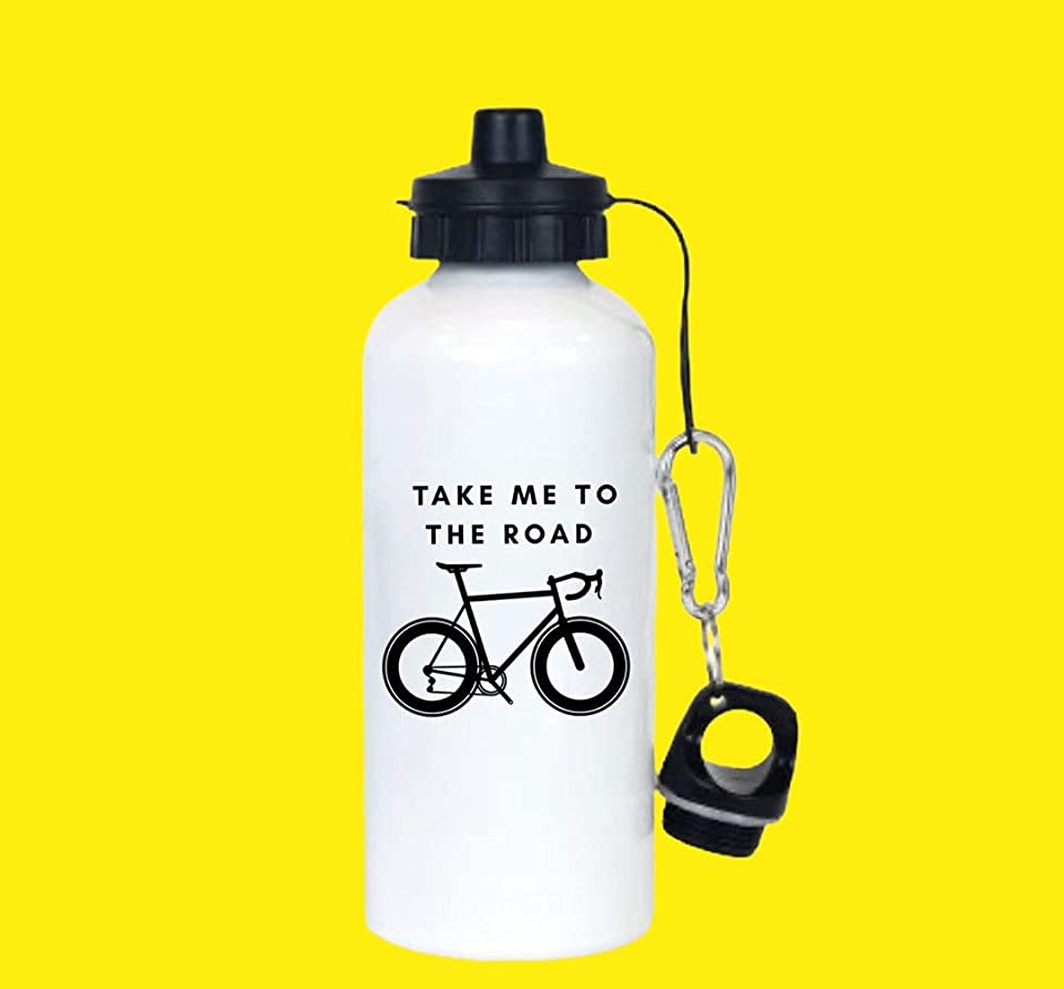 Aluminium Water Bottle with Cycling Design | Road Bike Bottle | Water Bottle for Mountain Biking | Cycling Gear | Cycling Accessories | Cycling Holiday Packing List | Unique Water Bottle Design