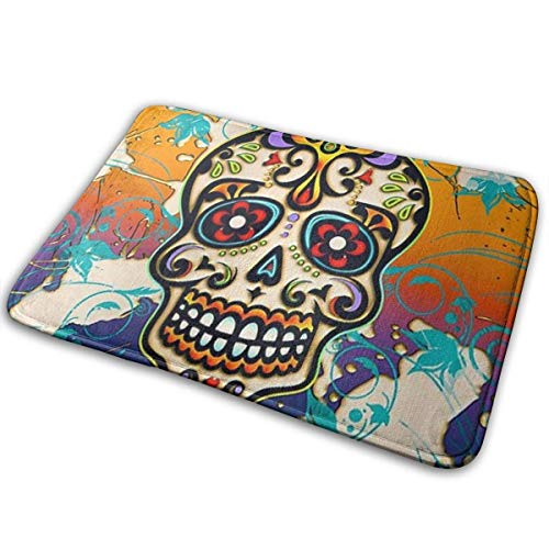 AOOEDM Mexican Sugar Skull Memory Foam Bath Mat Non Slip Ultra Absorbent Bathroom Rug Carpet, 15.7' X 23.5'
