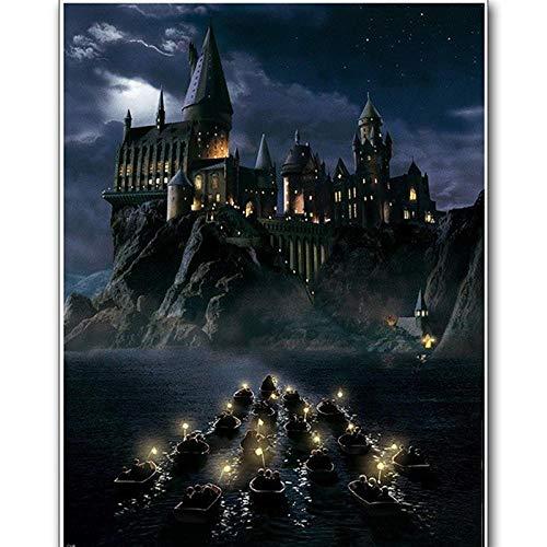 5D Diamante Pintura Taladro Completo Redondo Diy Diamante Bordado Harry Potter Castillo Punto De Cruz Completo Redondo Mosaico Decoración