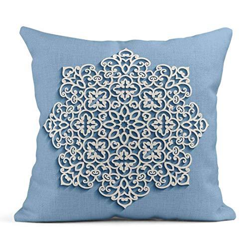 Kinhevao Cojín Azul Navidad Recorte Tapete de Encaje Copo de Nieve Mandala Círculo Lacy Patrón Redondo Crochet Lino Cojín Decorativo para el hogar Almohada