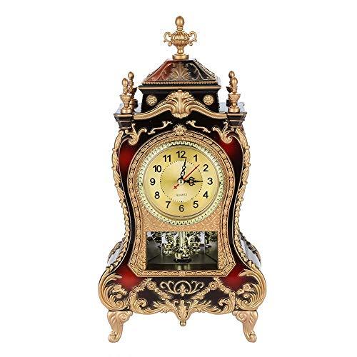 Antike Uhr,Vintage Retro Schreibtisch Uhr Europäischen Stil Retro Vintage Tischuhr Antik Wanduhr Barocke Retro-Stil ,für Wohnzimmer Dekorative,Home Hotel Dekorative , Schreibtisch Wecker(Bräunlichrot)