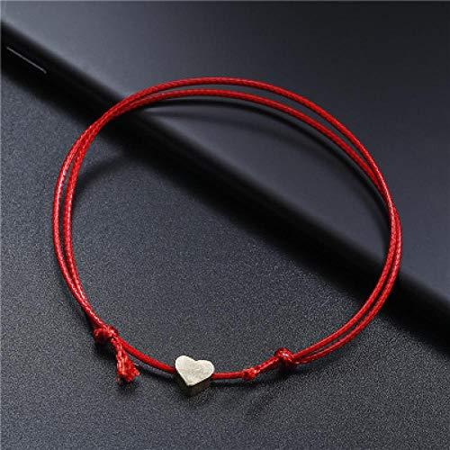 FGHOMEAQXL Verstellbare Strand herzförmige Seil Junge Mädchen Fußkettchen Armband Männer Frauen Fußkettchen-rot