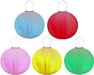 Mobestech 5pcs Solar Powered Nylon Lantern Outdoor Multicolor LED Hanging Lantern Waterproof Nylon Fabric Lantern for Gard...