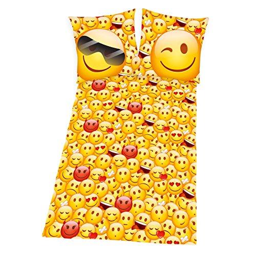 Emotix Bettwäsche 135 x 200 cm Emoji Smiley gelb rot Flanell Baumwolle