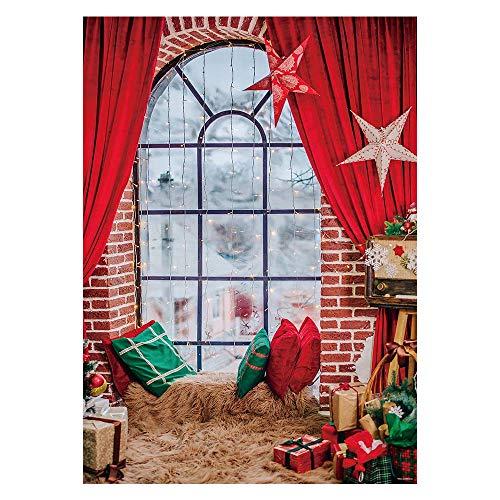 Allenjoy Fondo de Cortina Roja para Ventana de Navidad para Fotografía Fondo de Invierno Decoración de Pancarta de Fiesta para Baby Shower Birhtday Photo Booth Studio Props 150x210cm