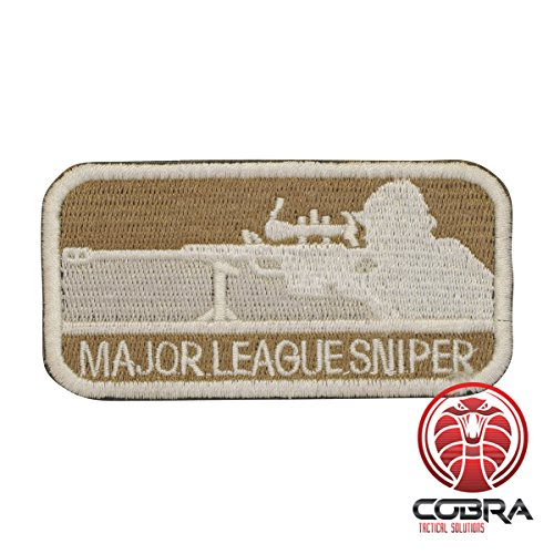 Cobra Tactical Solutions Major League Sniper Patch Braun Military Besticktes Patch mit Klettverschluss für Airsoft Paintball für Taktische Kleidung Rucksack