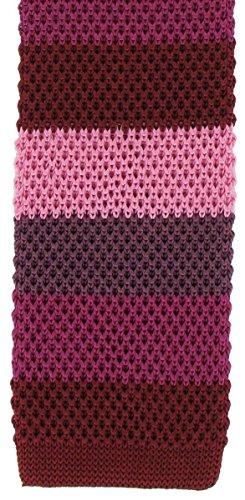 Une cravate étroite en soie tricotée à rayures rouges Michelsons