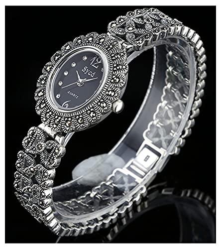 CHXISHOP Reloj de Pulsera de Las Mujeres 925 Sterling Silver Reloj Retro Movimiento de Cuarzo Oval Inlaid Diamond Watch Casual Business Watch Watch Watch Watch Black-M