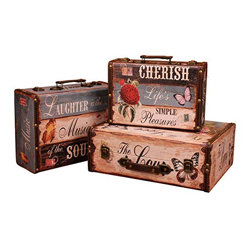 Decorative Storage Wooden Chest Trunk Antique Suitcases Decoration Storage Box Photography Props Storage 3pcs (Color : Blue, Size
