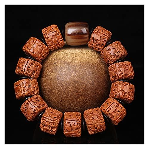 CHHNGPON Esposas Natural Nepalés Vajra Bodhi Pulsera Pulsera de Cuentas Masculino Pulsera de un Solo círculo Granos de cañones pulidos Wenwan Jewelry (Metal Color : 1)