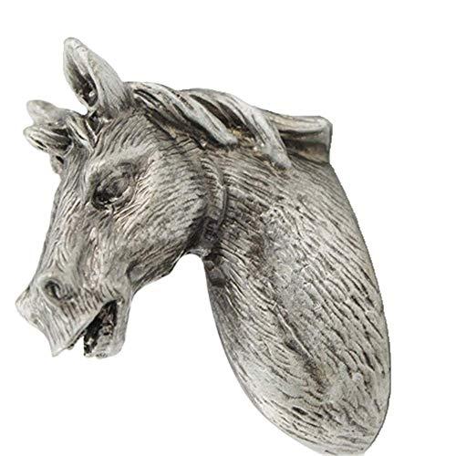 MLTYQ Türklopfer, Kreative Pferde Form-Weinlese Pull Handle Knob Refined Antik Silber Qualität Blei-Zinn-Legierung Rustic Griffe Für Kabinett Dresser Schrankschublade Haus & Garten