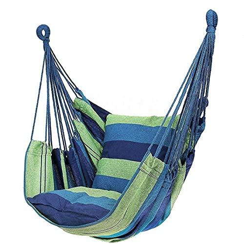Silla De Swing, Silla De Hamaca Máxima 300 Lbs De Swing De Hamaca con 2 Cojines Verde 100x130 Cm (sin Barra De Madera)
