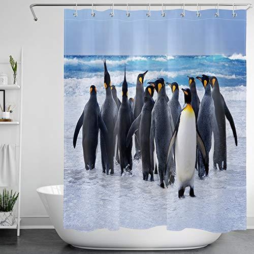 LB Tier Duschvorhang Für Badezimmer, Ozean, Kaltes Wasser, Weißer Schnee, Pinguin Duschvorhang, 150Wx180H cm Wasserdicht Polyester Stoff Bad Dekoration Vorhang, Blau, Weiß